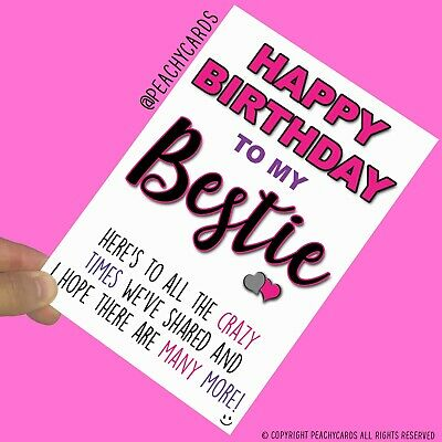 Funny Birthday Cards For Her Bestie Crazy Times Banter Best Friend Humour PC919