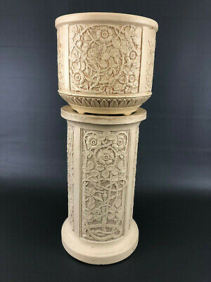 Antique Edwardian, Weller Pottery Co. jardiniere & pedestal IVORY  c.1910