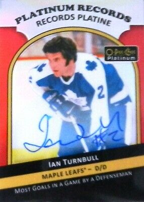 17-18 opc platinum records ian turnbull toronto maple leafs autograph auto