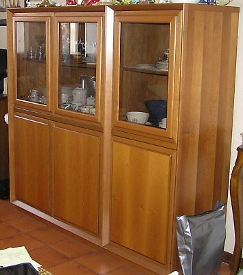 Triple display / dining room cabinet cupboard case credenza sideboard real wood