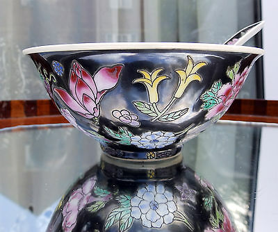 Oriental Ceramics : Chinese famille noire Rice Bowl & Spoon, decorated flora