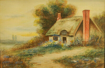 Charming Early 20th Century Watercolor Cottage with Thatched Roof and Chimneys