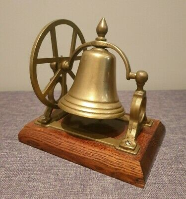 Antique Brass Desk Bell on Wooden Plinth with Hand Wheel (Hotel Desk Counter)