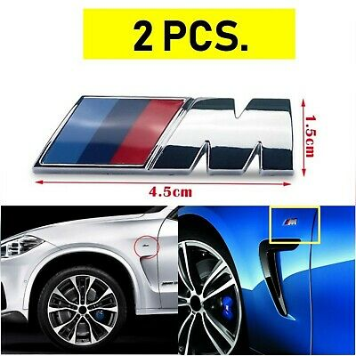 2 X Badge Laterale BMW M Sport 3D 45x15 mm. adesivo in ABS  Stemma Logo Emblema