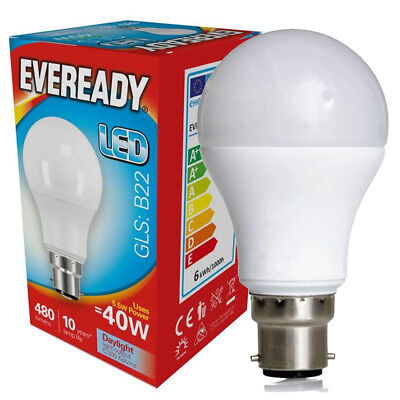 EVEREADY B22 Bayonet Cap BC LED GLS Lamp Daylight 6000k / Warm White 3000k Opal