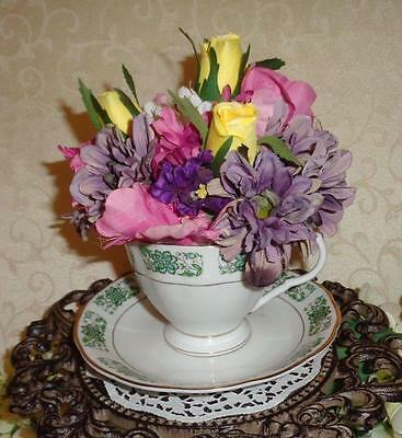"""CHINESE PORCELAIN CUP & SAUCER """"Vintage Hand Painted with Silk Flowers"""""""