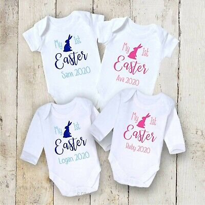 Personalised My 1St Easter Baby Grow Boy Girl Bodysuit Vest Outfit First Gift