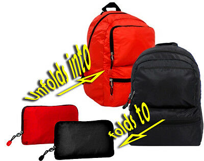 **2 BACKPACKS** Black/Red FOLDS into POUCH teen GIFT Zipper Rip Stop