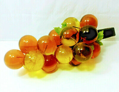 Vintage Mid Century Modern Lucite Amber Grape Cluster