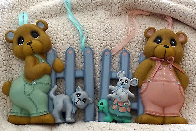 Vintage Adorable Boy & Girl Bear Ceramic Wall Mount Hand Painted 1990s Excellent