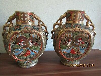 PAIR OF ANTIQUE, SATSUMA MORIAGE DECORATED JAPANESE MOON FLASK VASES - stunning!