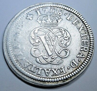 1708 Spanish Silver 2 Reales Piece of 8 Real Colonial Two Bits Pirate Coin