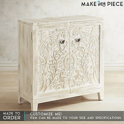 MADE TO ORDER Hand Carved Solid wood Small Cabinet Sideboard Buffet Whitewash