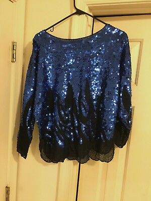 Size L Blue Vintage Sequin Beaded Top Blouse Party, Mardi Gras, Wedding, Ball
