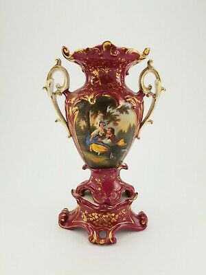 French Antique Porcelain Handpainted Vase Romantic Scene E/0017