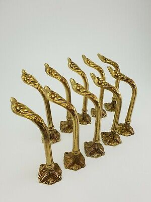 10 Vintage Wall Mounted Brass Curtain Holders Hooks E/0018
