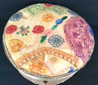 Vintage Handmade Hat Box flowers lace pearls deco folk art Unique One of a Kind