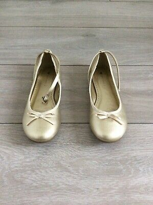 JOHN LEWIS Gold Ballet Style Shoes, Ankle Strap, Bow Front, GIRLS UK SIZE 4