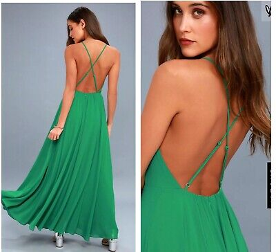 4926459623 LULU S GREEN MYTHICAL Kind Of Love strap cross back maxi dress size ...