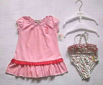 Juicy Couture Baby Bikini & Cover Up Set Age 6-12 Months Swim Bathing Suit Pink