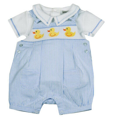 Baby Boys Spanish Style Smocked Embroidered Ducks Short Dungarees & Top Outfit