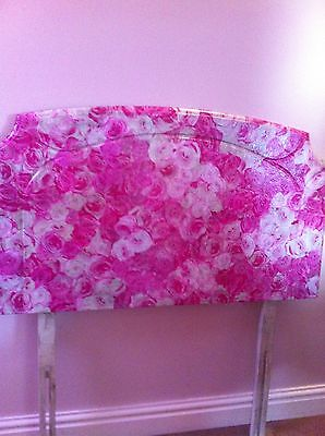 Single Bed Headboard Shabby Chic Pink/white Roses Decoupage Girls Bedroom Unique