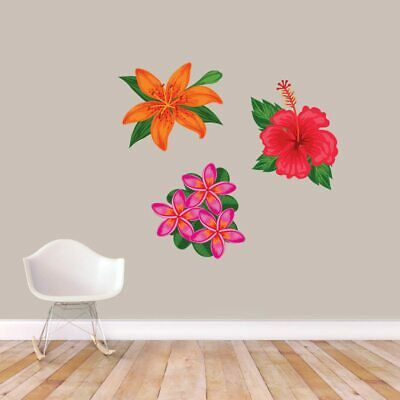 Printed Tropical Flowers Wall Decal Set - Flower, Hibiscus, Beach, Tropical, Art