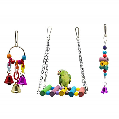 Dsaren Parrot Toys, Colorful Wooden Bird Cage Swings Hanging Toys for Trainning