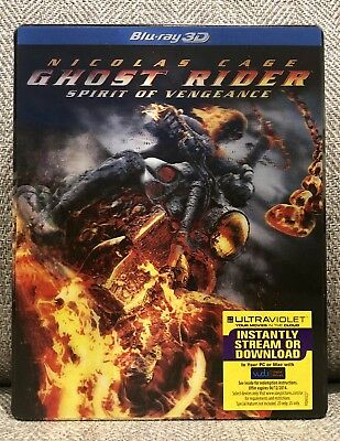 GHOST RIDER SPIRIT OF VENGEANCE 3D 2D blu-ray STEELBOOK w/LENTICULAR COVER RARE!