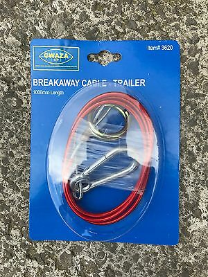 Gwaza Farm Power Trailer Breakaway Cable - 1000mm - Quick Release Caravan Safety