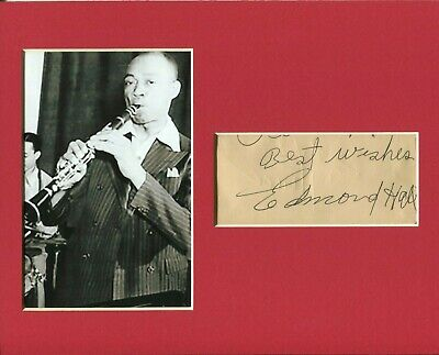 Edmond Hall Jazz Clarinetist Bandleader Rare Signed Autograph Photo Display