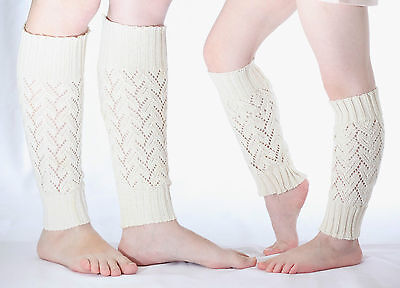 Mother and Daughter Wool Knit Lace Leg Warmers Baby Girl Women Perfect Gift