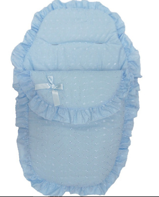 Blue Broderie Anglaise Pram/Pushchair Quilt/Footmuff/Cosytoes Liner for Baby