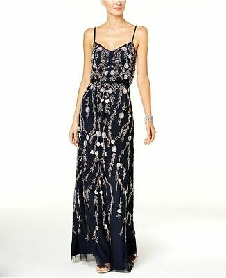 $549 Adrianna Papell Women'S Blue Floral Bead Blouson Gown V-Neck Dress Size 4