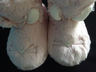 BNWT Girls M&S FAUX FUR Bunny Slippers PINK , SIZE 7 INFANT, EASTER