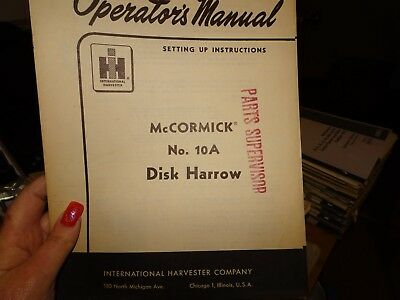 Ihc Owners Manual Mccormick 10-A Tractor Disk Harrow Farm Implement Harvester Ih