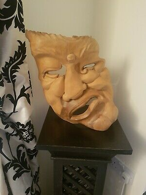 Large Balinese Carved Wooden Abstract Art Sculpture Ornament Face 1 of 2