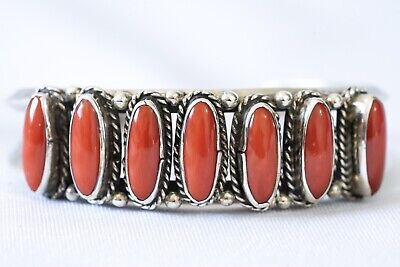 Vintage Native American Indian Navajo Coral Sterling Silver Row Cuff Bracelet