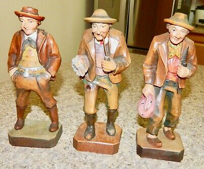 *****Set Of Vintage Wooden Black Forest Carved Figures*****