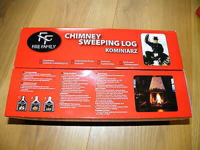 SPECIAL OFFER for end season!!!!! 2x CHIMNEY flue SWEEPER LOG SOOT cleaner RED