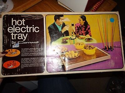Vtg Electric Food Warmer Warming Hot Plate Buffet Potluck Cornwall Avocado 1974
