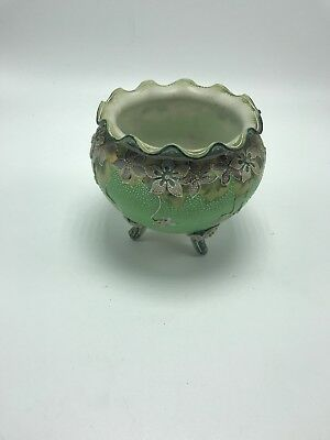 England Small Footed Bowl Dish Green Floral Scalloped Ornate Design details