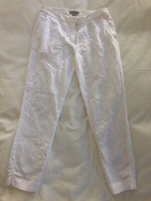 H&M Women's Skinny Pants Size 2 White Cotton Slim Ankle Straight Cropped Skimmer