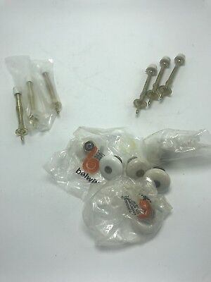 Drawer Knobs & Door Stoppers Vintage White & Brass Lot of 12
