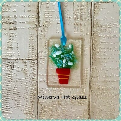 Blue Flowers, Fused Glass, Sun Catcher, Light Catcher, Plant, Minerva Hot Glass