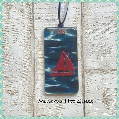 Yacht Sailing Boat, Blue Fused Glass Sun Catcher, Hanging Minerva Hot Glass