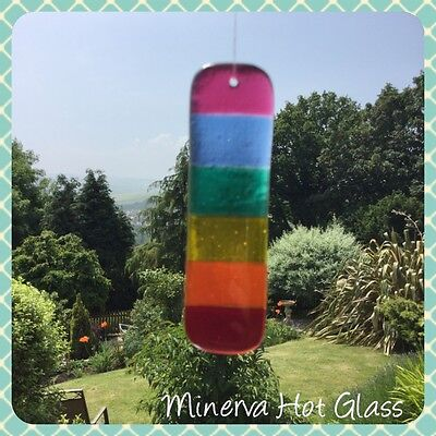 Fused Glass Rainbow Glass Sun Catcher, Rainbow Glass Hanging - Minerva Hot Glass