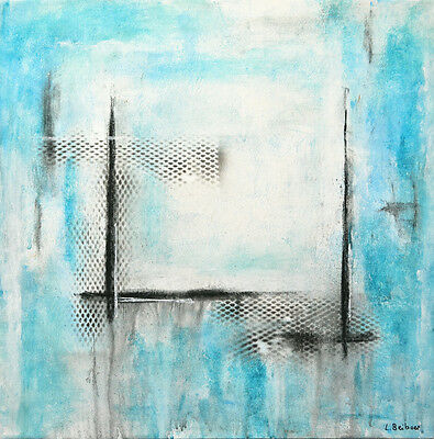 ORIGINAL MODERN FINE ART BLUE WHITE ABSTRACT CONTEMPORARY PAINTING ~ L. Beiboer