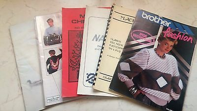 Lot 6 Brother Silver Reed Knitting Machine Mixed Books Manuals Patterns