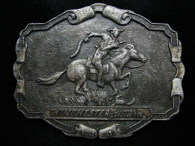 PD05126 VINTAGE 1970s **WINCHESTER WESTERN** RIFLE & FIREARM PEWTER BELT BUCKLE